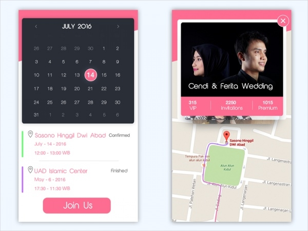 Wedding App Concept calendar