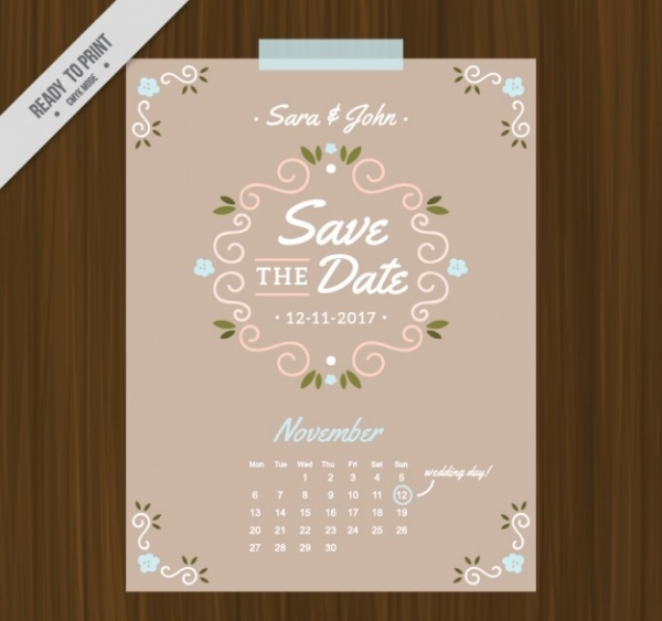 Wedding Invitation card with Calendar