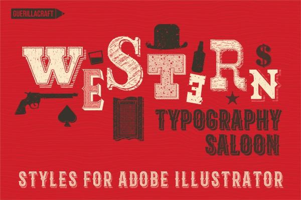Western Typography Salon Vector Art