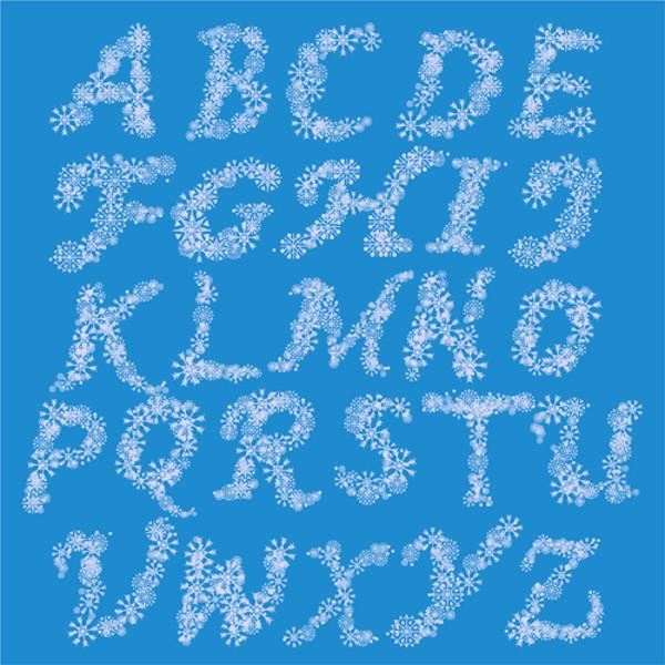 White snowflake alphabets vectors