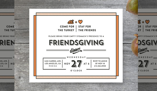 wooden friendsgiving invitation design