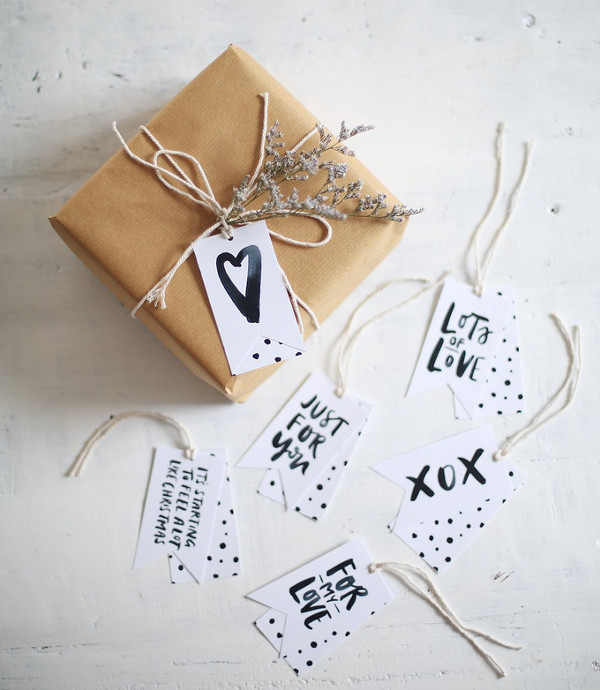 Wrapped Package Box & Gift Tags