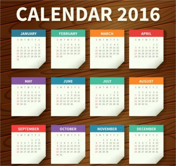 Yearly organizer Paper calendar template