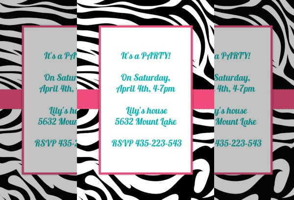 Zebra Stripes - Printable Party Invitation Template