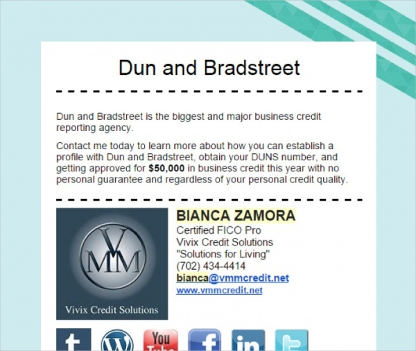 business credit email Template