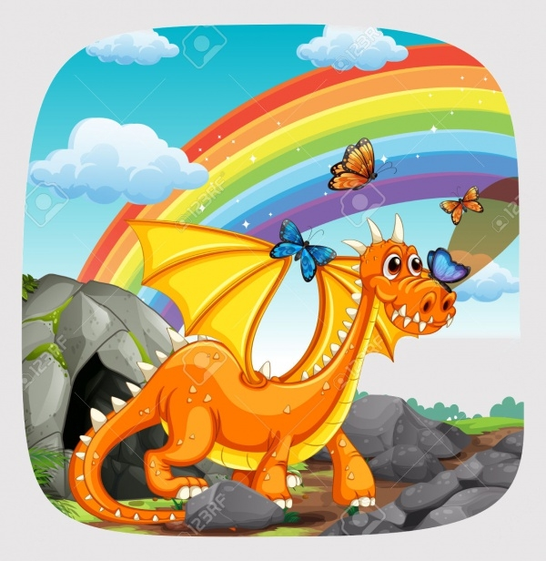 dragon standing with rainbow Clipart