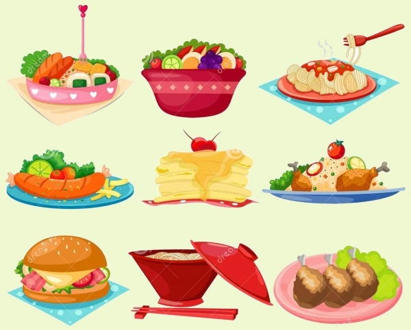 elegant Set of food Clipart