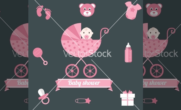 girl pink Baby shower icons