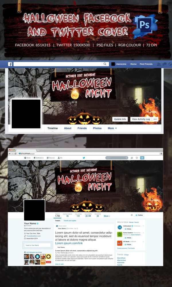 halloween fb & Twitter Cover page