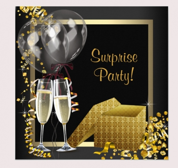i Black Gold Surprise Party Card