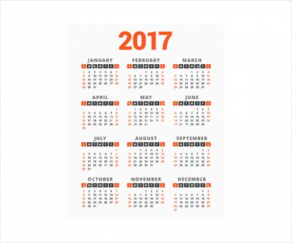 2017 year on white background week vector