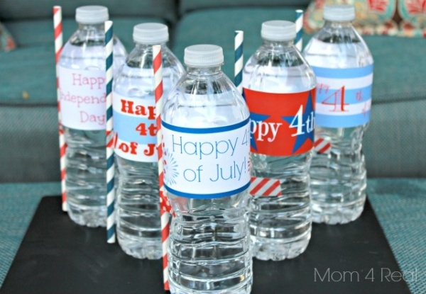 4th July Water Bottle Labels