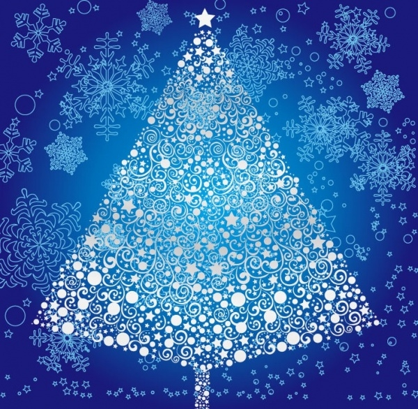 Abstract Merry Christmas Tree Image