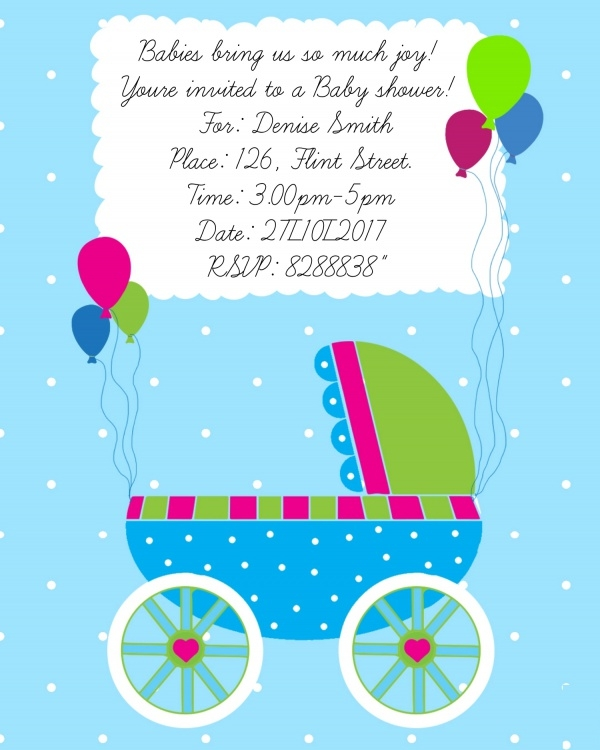 Baby Carriage Shower Invitation