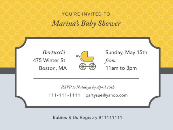 Baby Shower Gray & Yellow Invite