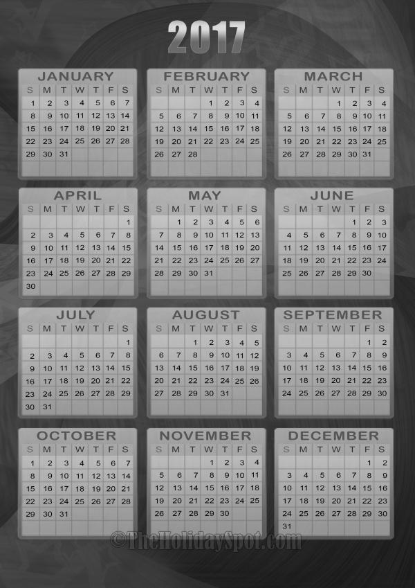 Balck & White Yearly calendar