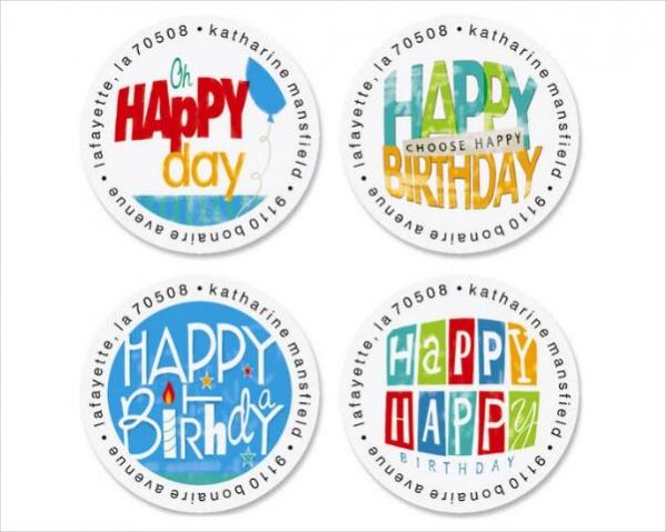 birthday address round labels