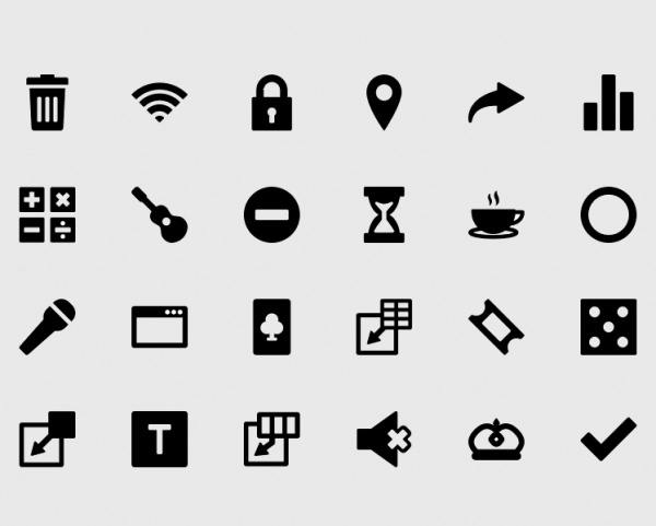 black shaded android icons