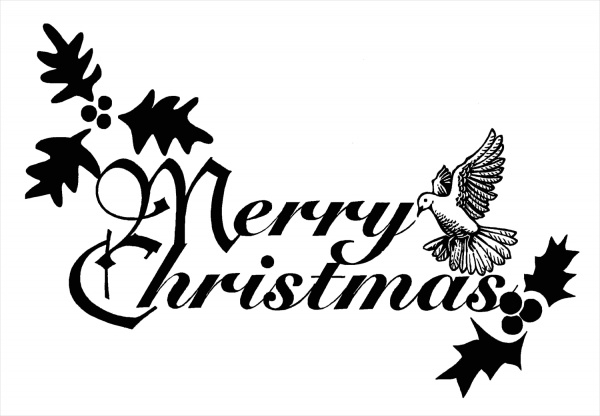 Black and White Christmas Clip Art Free