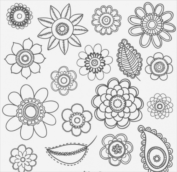 Black and White Flower Drawings