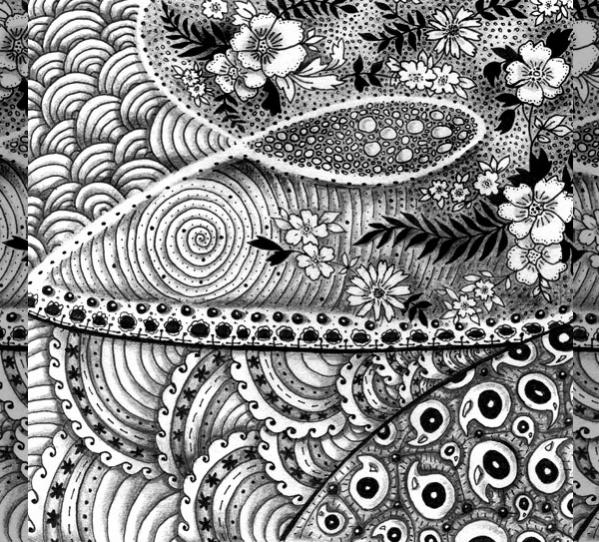 black and white zentangle pattern