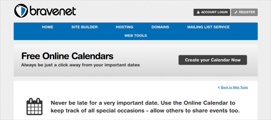 Bravenet - Online Calendar Tool