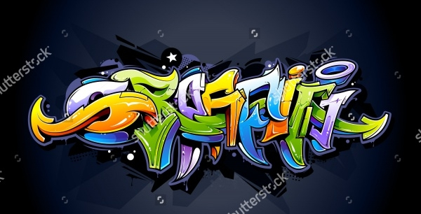 Bright Graffiti Letters on Dark Background
