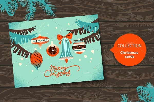 Cartoon Vintage Christmas Card