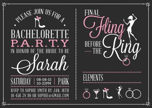 Chalk Bachelorette Party invitation