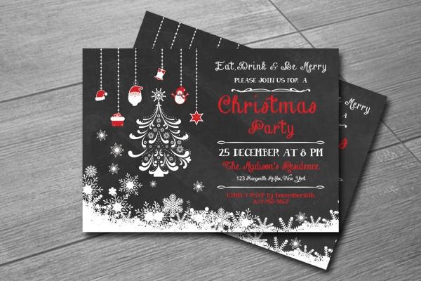 chalk christmas party invitation