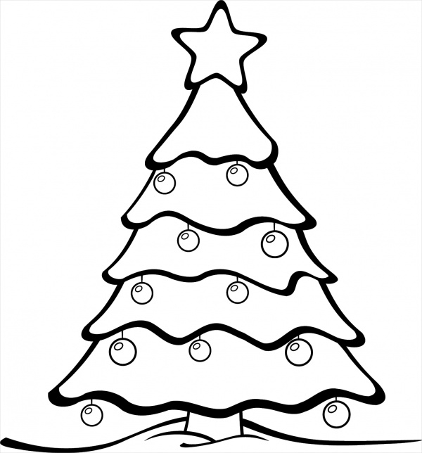 Christmas Black and White Christmas Tree Clipart