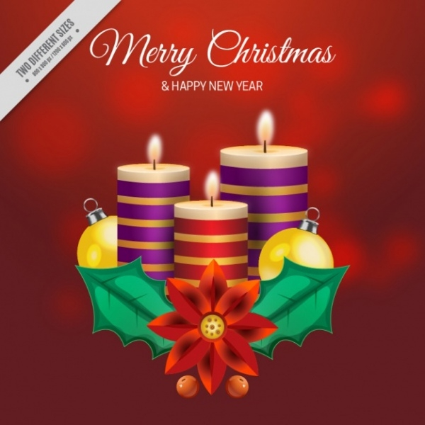 Christmas Candles Greeting Card Background