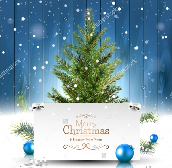 Christmas Greeting Card on Wooden Background