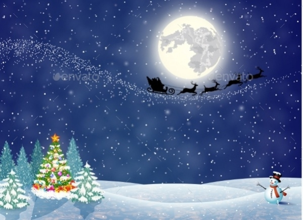 Christmas Landscape Night Wallpaper