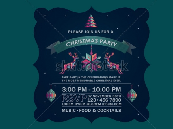 christmas party deer invitation card