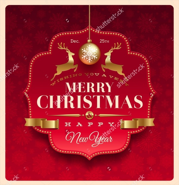 Christmas greeting label vector