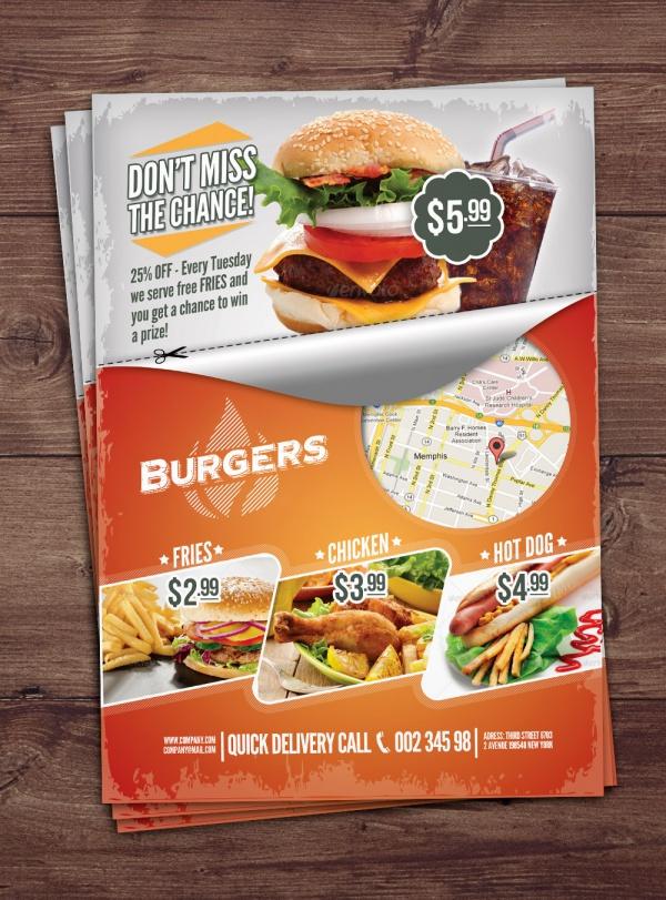 Colorful Fast Food Flyer Design