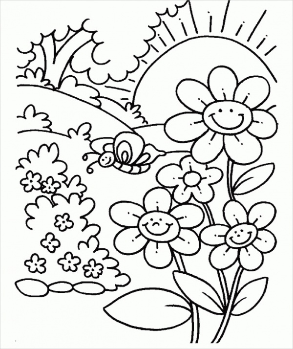 Spring Coloring Page for Adults