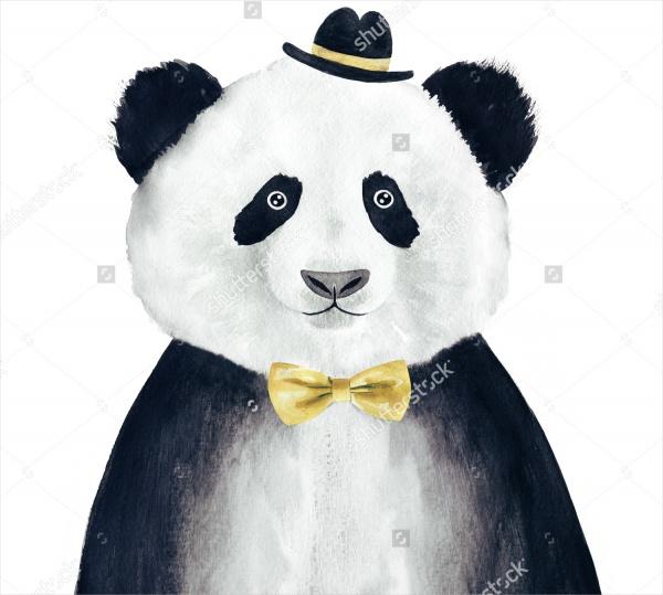 Cool Hipster Panda Drawing