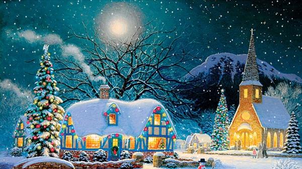 Country Snowfall Holiday Wallpaper