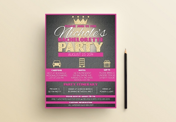 Creative Graphic Bachelorette Invitation