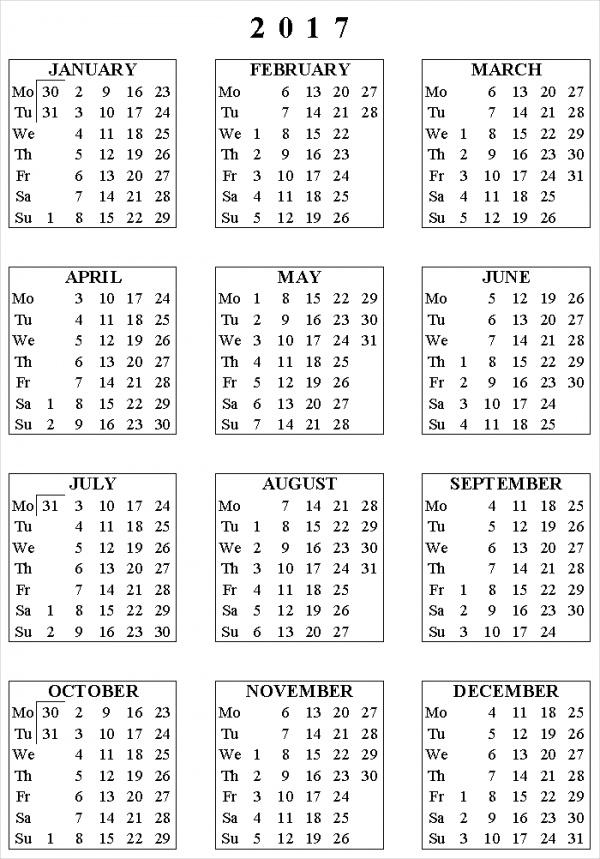 Customized Monthly Calendar