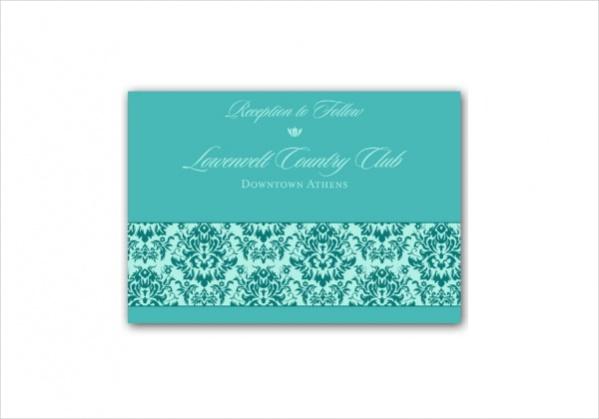 Damask Blue Wedding Reception Card