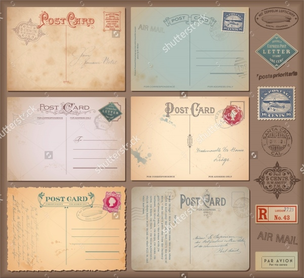 Different Vintage Postcard Design