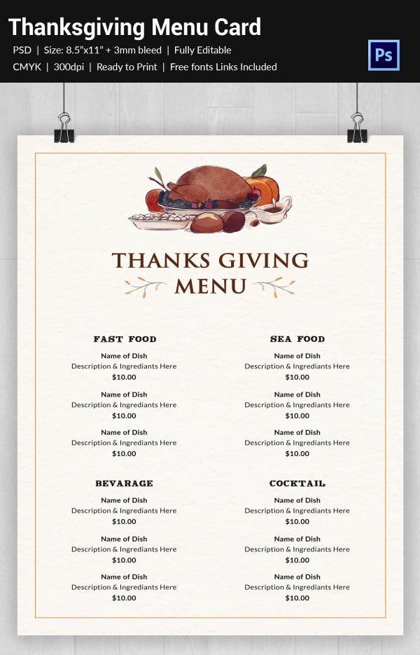 Editable Thanksgiving Menu