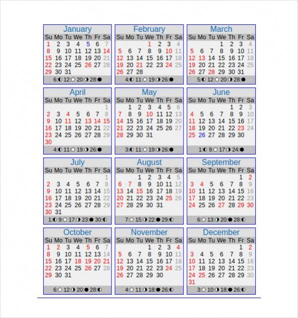 Editable Yearly Calendar