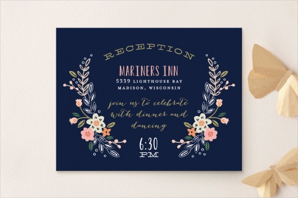 Elegant Floral Reception card