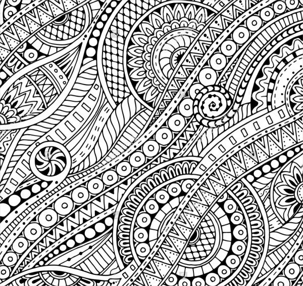 Ethnic Paisley Zentangle Pattern