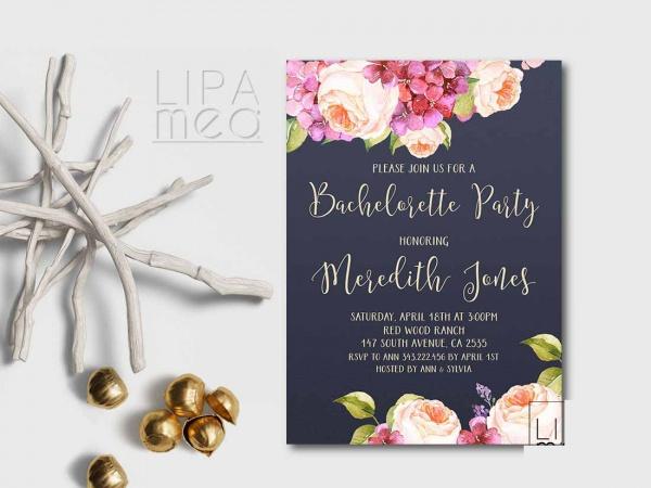 Floral Navy Bachelorette Invite