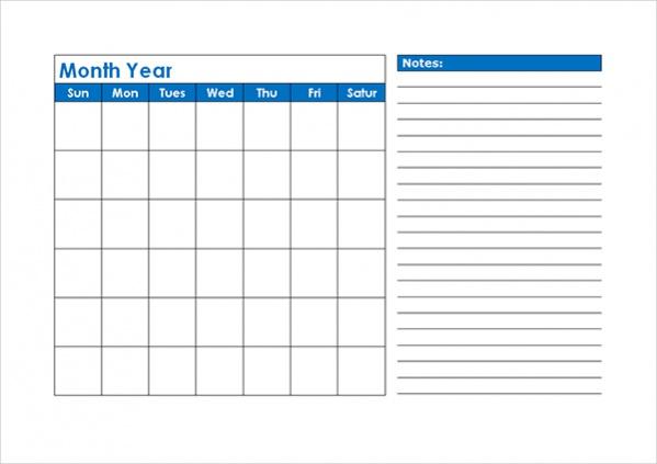 18  free blank calendars